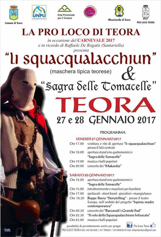 a festa con Li squacqualacchiun, tipica ed originale maschera Teorese.